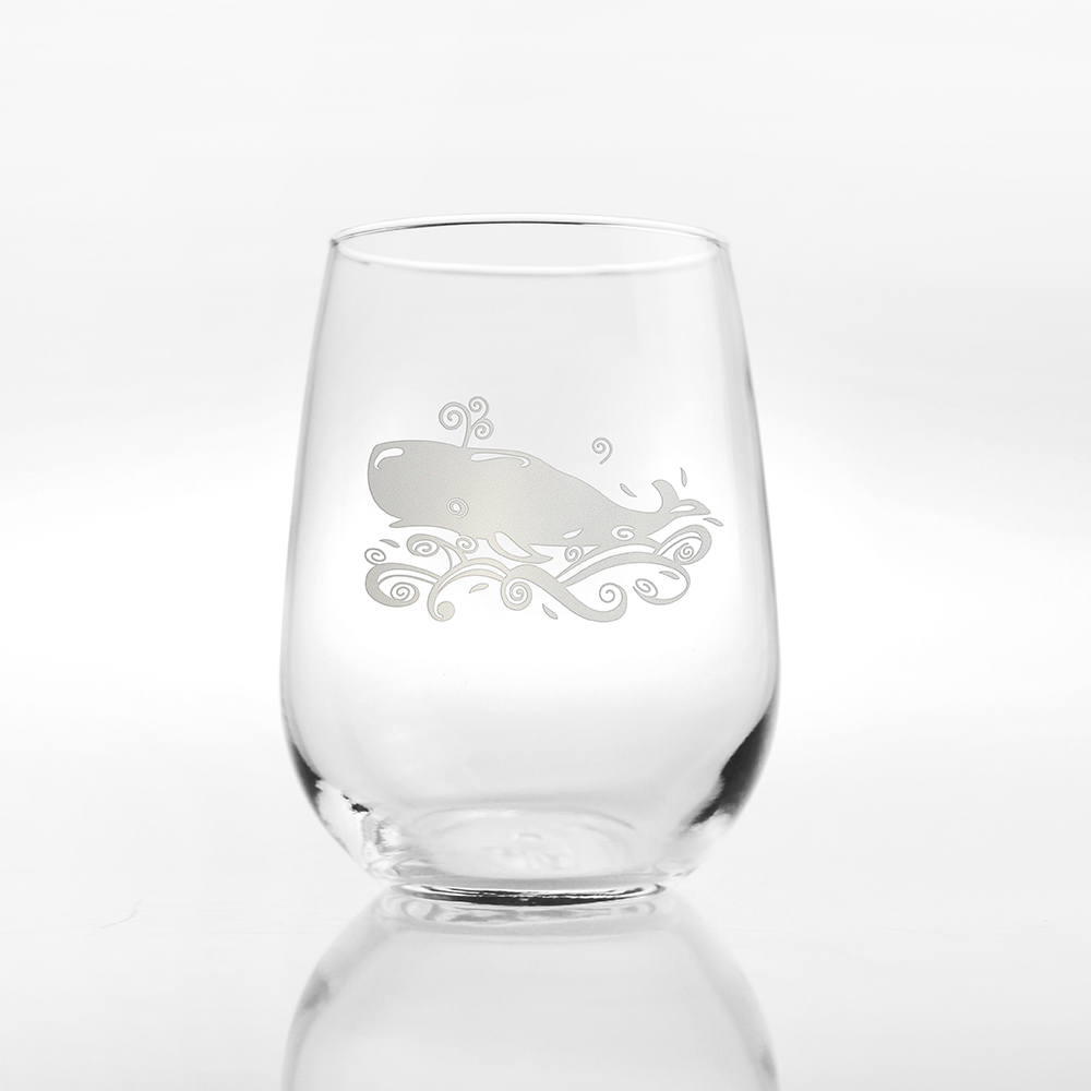 Etched Whale Cocktail Tumblers