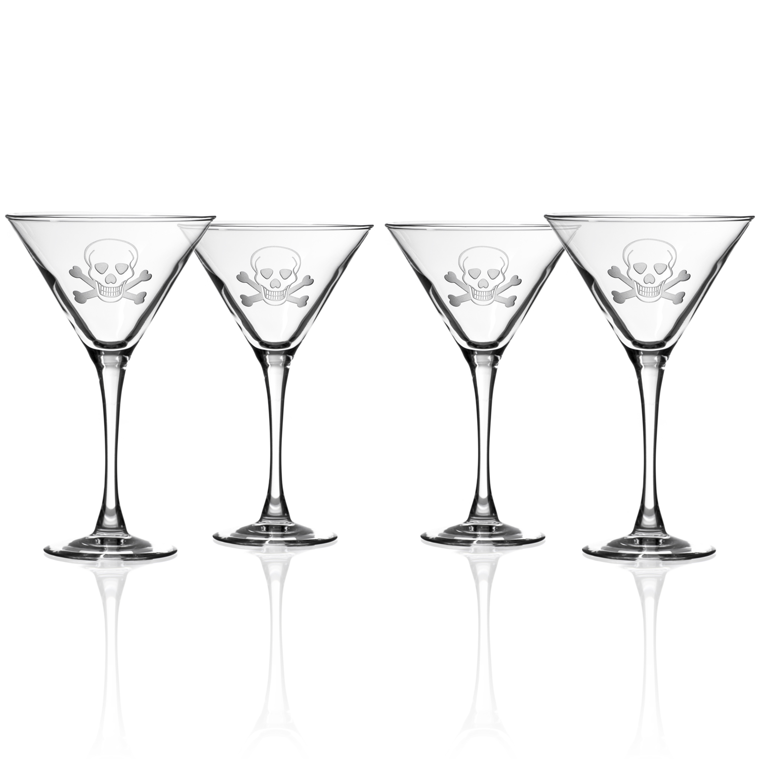 Skull and Cross Bones Martini Glasses