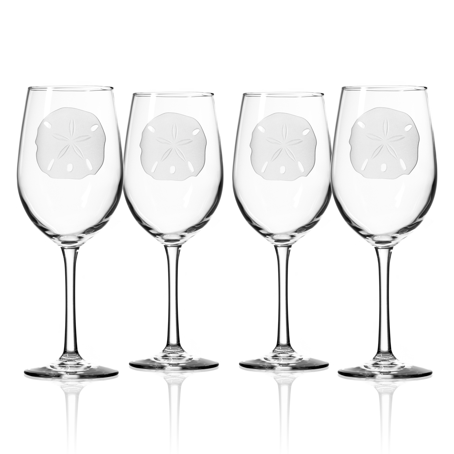 Sand Dollar Etched Wine Glasses - Set of Four