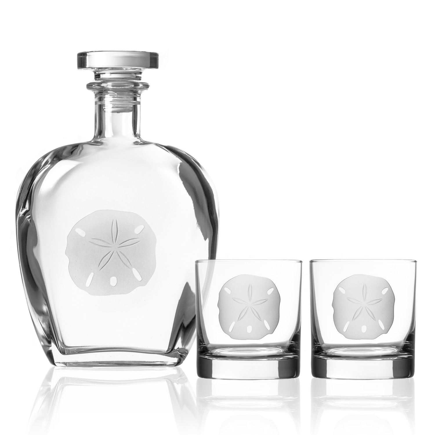 Sand Dollar Decanter and matching rocks glasses - a great gift idea