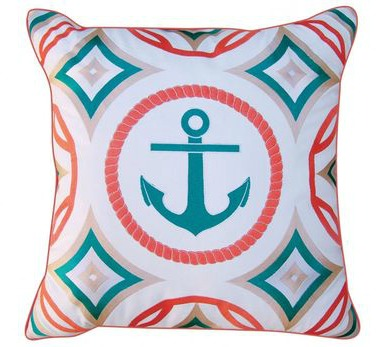 Modern Turquoise and Coral Anchor Pillow