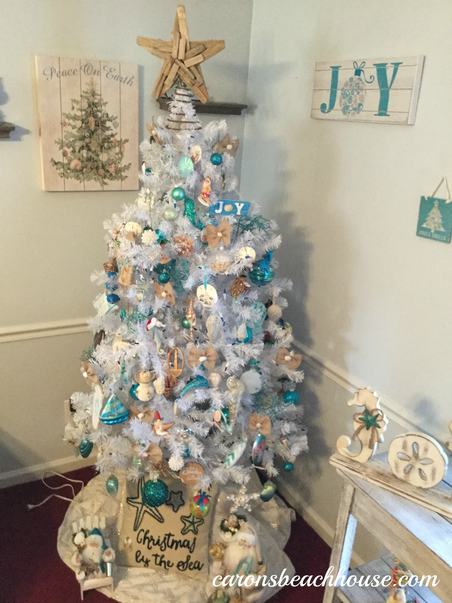 however we love the beach and decided to have a beach theme christmas - Coastal Christmas Decorations For Sale